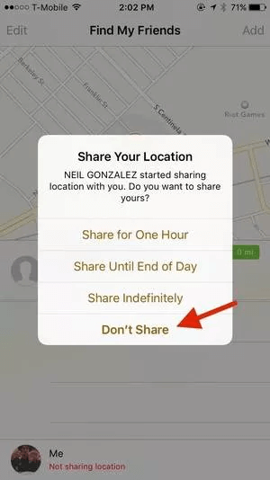 turn off location sharing on find my friends