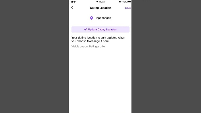 update dating location