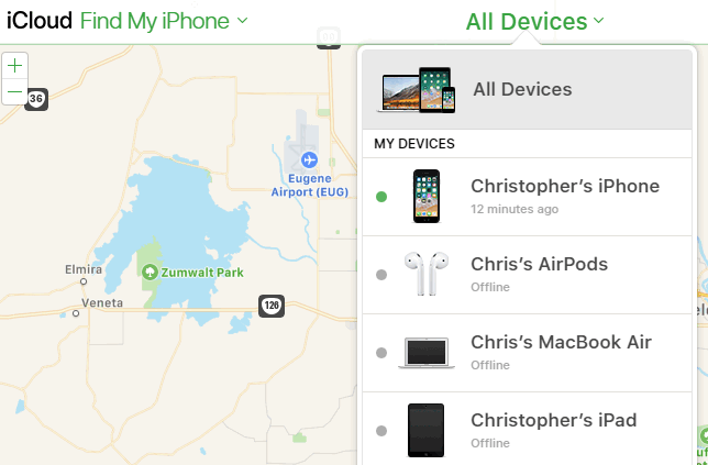 Select lost iPhone from device list