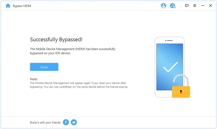 iMyFone LockWiper finish bypassing