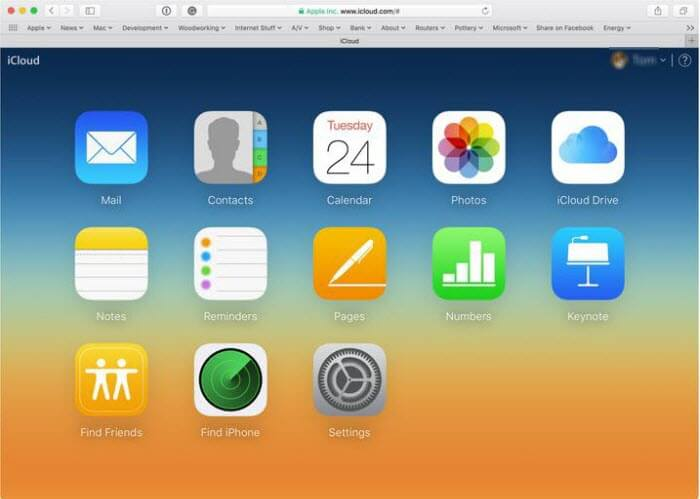 what can you see in iCloud from web