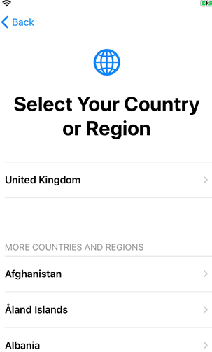 3. select your country or region